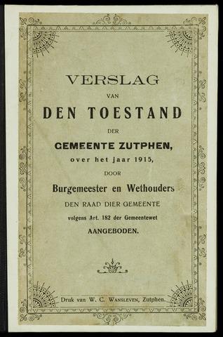 Jaarverslagen gemeente Zutphen (1851-1945) 1915-12-31
