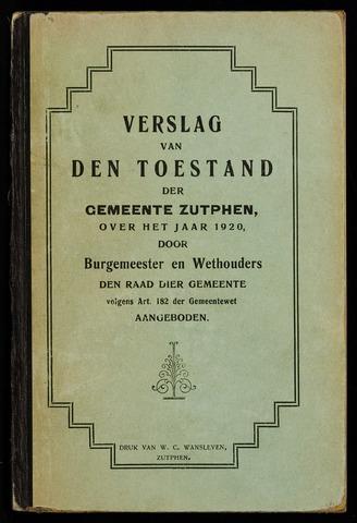Jaarverslagen gemeente Zutphen 1920-12-31