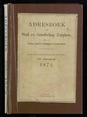 Adresboeken Zutphen (1863-1967) 1872-12-31