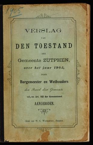 Jaarverslagen gemeente Zutphen 1905-12-31