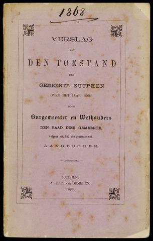 Jaarverslagen gemeente Zutphen 1868-12-31