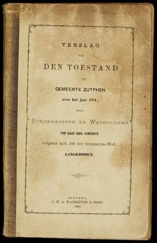 Jaarverslagen gemeente Zutphen 1881-12-31