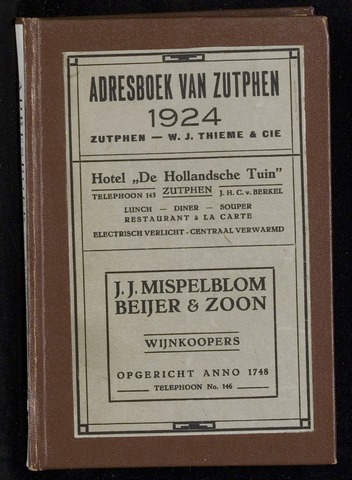 Adresboeken Zutphen 1924