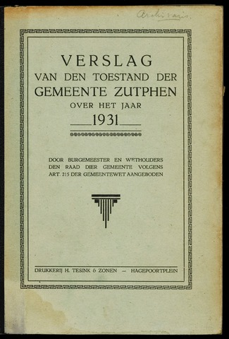 Jaarverslagen gemeente Zutphen (1851-1945) 1931-12-31