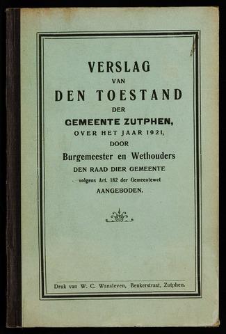 Jaarverslagen gemeente Zutphen 1921-12-31