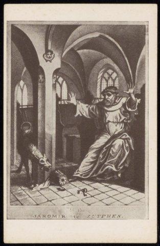 prent van Jaromir met hond (duivel) in de Librije in de Walburgis...