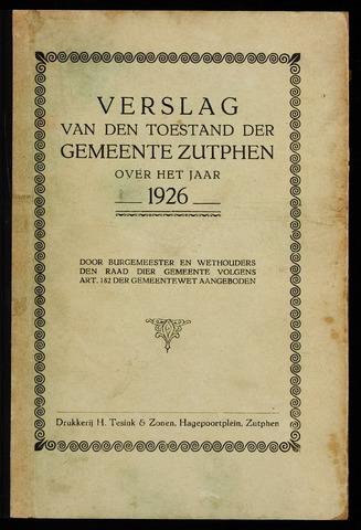 Jaarverslagen gemeente Zutphen (1851-1945) 1926-12-31