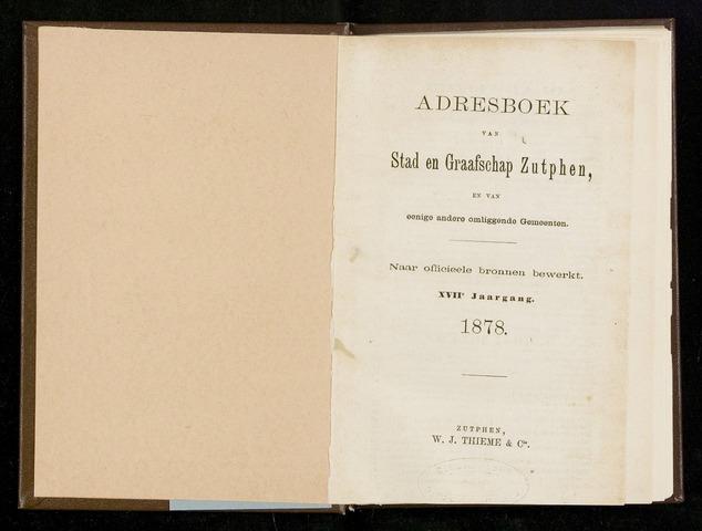 Adresboeken Zutphen 1878