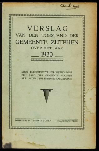 Jaarverslagen gemeente Zutphen (1851-1945) 1930-12-31