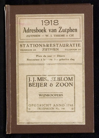 Adresboeken Zutphen (1863-1967) 1918-12-31