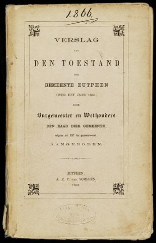 Jaarverslagen gemeente Zutphen (1851-1945) 1866-12-31