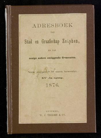 Adresboeken Zutphen 1876