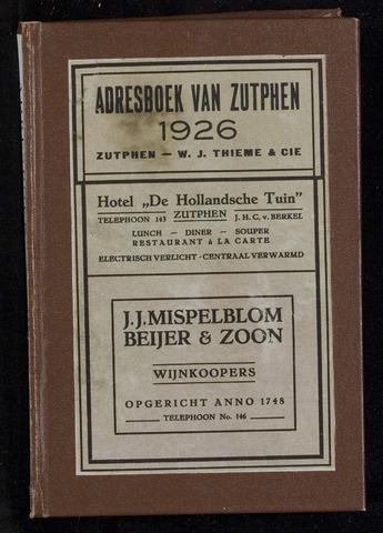 Adresboeken Zutphen 1926-12-31