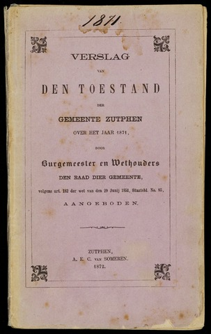 Jaarverslagen gemeente Zutphen 1871-12-31
