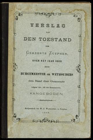 Jaarverslagen gemeente Zutphen 1888-12-31