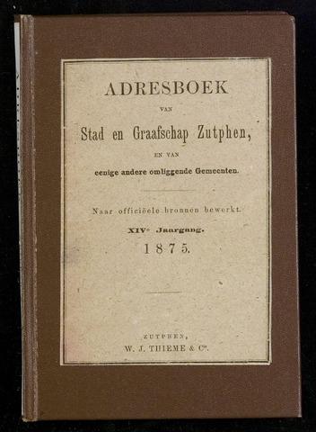 Adresboeken Zutphen 1875