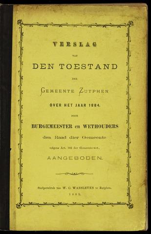 Jaarverslagen gemeente Zutphen 1884-12-31