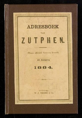 Adresboeken Zutphen 1884