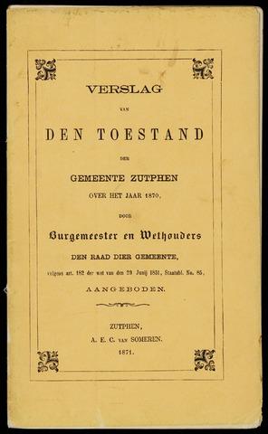Jaarverslagen gemeente Zutphen 1870-12-31