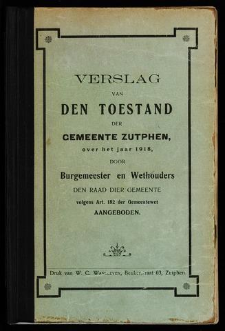 Jaarverslagen gemeente Zutphen (1851-1945) 1918-12-31