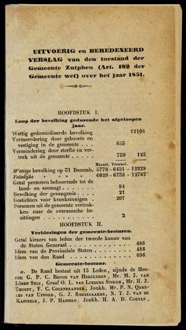 Jaarverslagen gemeente Zutphen 1851-12-31