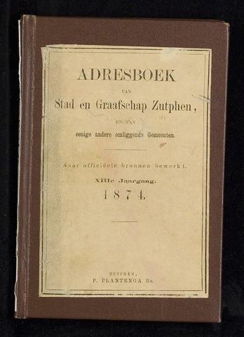 Adresboeken Zutphen (1863-1967) 1874-12-31