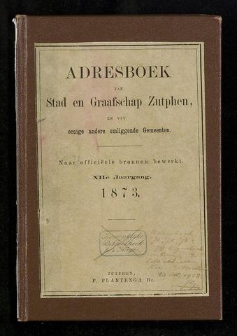 Adresboeken Zutphen 1873