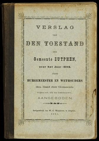 Jaarverslagen gemeente Zutphen (1851-1945) 1892-12-31