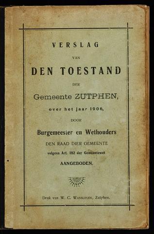 Jaarverslagen gemeente Zutphen 1906-12-31