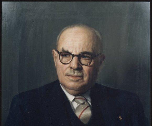 Geschilderd portret van E. Schut, t.g.v. zijn 70-ste verjaardag.