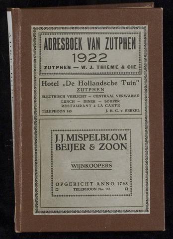 Adresboeken Zutphen 1922-12-31