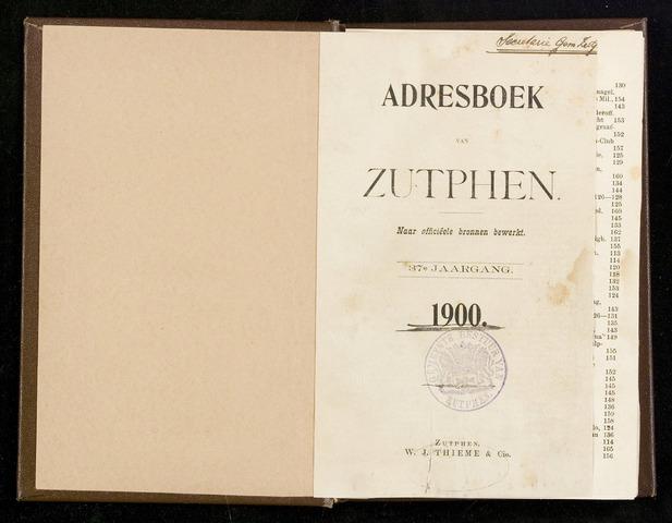 Adresboeken Zutphen 1900