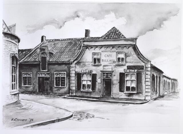 027024 - Tekening. Hoek Schijfstraat, Noordstraat, Industriestraat. Later stond hier de Noordhoekse Kerk, gebouwd in 1898, thans weer afgebroken. Tekening door H. Corvers.