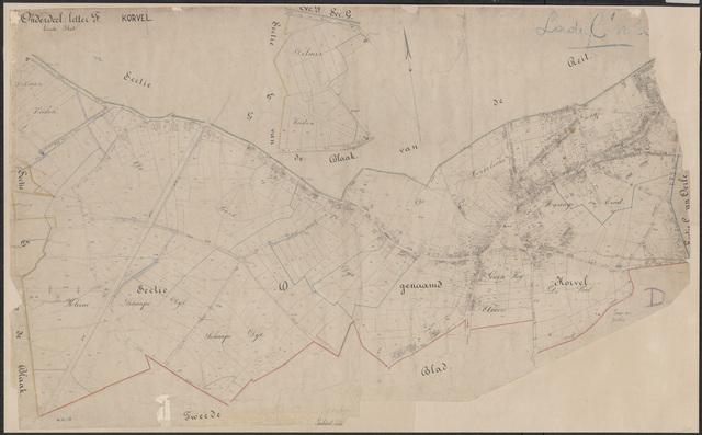 652646 - Wegenlegger. Kaart van de openbare wegen, voetpaden, straten, stegen, etc. Tilburg, Sectie D (Korvel), blad 1 en 2. Schaal 1:2500. Ongedateerd.