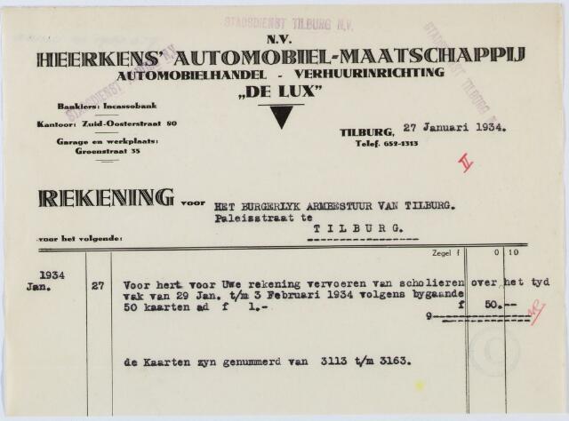 """060260 - Briefhoofd. Nota van N.V. Heerkens' Automobiel - Maatschappij """"De Lux"""" Zuid-Oosterstraat 80 voor het burgerlijk Armbestuur van Tilburg"""