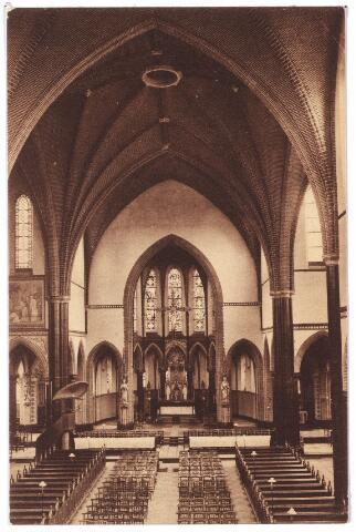 000664 - Hart v. Brabantlaan, interieur kerk H. Hart Noordhoek. De kerk van de Noordhoek werd voorheen omsloten door de Mozartstraat, de Industriestraat en de Schijfstraat.