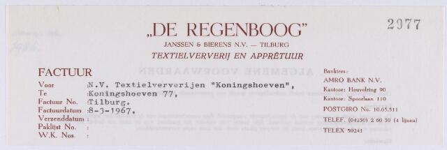 """060952 - Briefhoofd. Nota van """"De Regenboog"""", Janssen & Bierens N.V., Textielverij en Apprêtuur, Spoorlaan 110 voor N.V. Textielververijen """"Koningshoeven"""", Koningshoeven 77"""