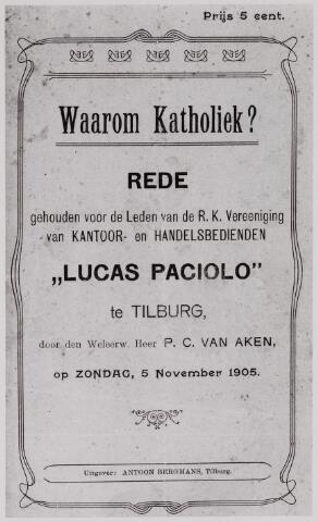 041058 - titelblad lezing gehouden te Tilburg op 5 november 1905 door P.C. van Aken voor de leden van de R.K. vereniging van kantoor- en handelsbedienden Lucas Paciolo.