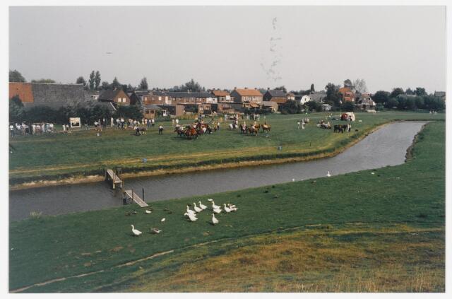 91336 - Terheijden, Zomerfestival 1990. Jacht tafereel op de meent tijdens de Middeleeuwse festiviteiten op zaterdag 25 augustus 1990.
