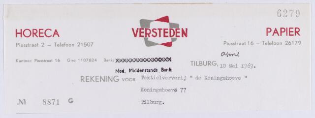 """061339 - Brief.Nota van Versteden, horeca en Papier, Piusstraat 2 en 16 voor Textielververij """" de Koningshoeven """", Koningshoeven 77"""