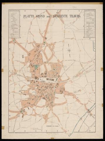653424 - Plattegrond van de gemeente Tilburg. Kleur. originele schaal 1:7500. Ontworpen door Krugers, directeur der Gemeente werken.