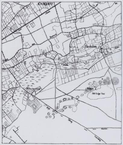 049187 - Kaart. Kaart gebied Berkel-Enschot/Heukelom met de wegen van Tilburg naar Oisterwijk en Tilburg-Vinkenberg (Moergestel) en het Galgeven met omgeving.