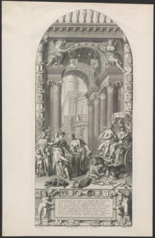 651044 - Afbeelding van het eerste glasraam in de N.H. kerk te Gouda waarop het wapen van Geertruidenberg o.a. voorkomt. Met gedrukte tekst en uitleg in Nederlands en Frans op apart blad . 17e eeuw. Gravure Joachim Uytewaal inv. autographum majus delineavit J.C. Boëtius P. Tanjé sculp. Aangekocht in 1970 bij Ned. Herv. Gemeente Gouda. 31,5 x 66,5 cm.