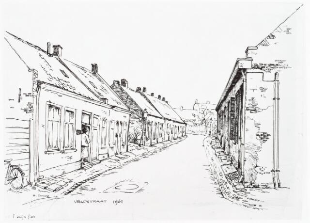 028062 - Tekening. Tekening van H. Corvers van de Veldstraat links nummer 24 en rechts nummer 35, thans Pastoor van Beurdenstraat