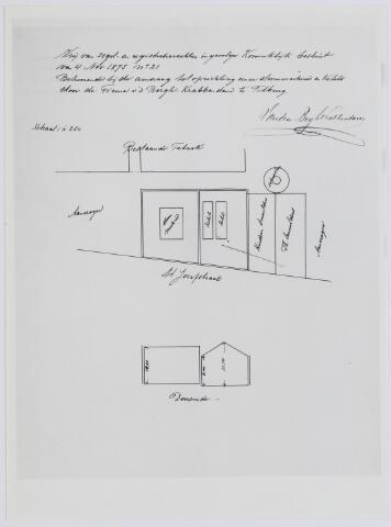 037518 - Textiel. Plattegrond en doorsnede behorende bij de aanvraag tot plaatsing van een stoommachine en ketels door Van den Bergh en Krabbendam (Beka) uit 1904
