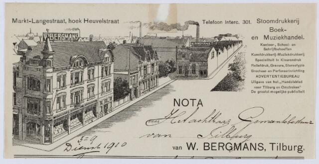 059581 - Briefhoofd. Rekening van Drukkerij W. Bergmans voor de gemeente Tilburg