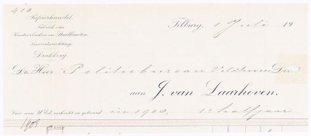 060531 - Briefhoofd. Nota van J. van Laarhoven, papierhandel, boekhandel & binderij, voor politiebureau Veldhoven