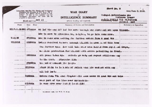 013217 - Tweede Wereldoorlog. Gedeelte uit het oorlogsdagboek van de Prinses Irenebrigade betreffende de periode van 17 tot 31 oktober 1944 over de strijd rond Tilburg