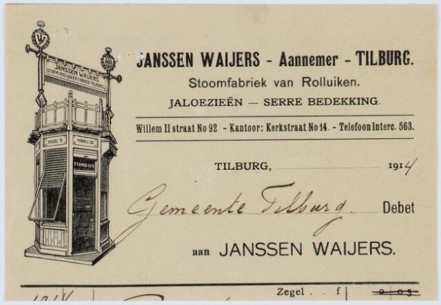 060380 - Briefhoofd. Nota van Janssen Waijers - aannemer, Stoomfabriek van Rolluiken, Willem-II-straat 92 voor de gemeente Tilburg