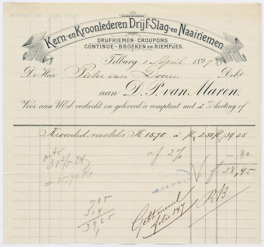 060652 - Briefhoofd. Nota van D.P. van Maren, kern- en kroonlederen drijf- slag- en naairiemen, voor de heer Pieter van Dooren te Tilburg